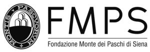 Logo Fondazione MPS, formato da uno stemma recante la scritta Montis Pascuorum che circonda un ovale bianco e nero