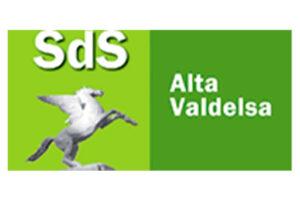 Logo Società della Salute Alta Valdelsa, composto da due riquadri affiancati, il primo verde chiaro con la scritta SdS e un cavallo alato, e il secondo verde più scuro con la scritta Alta Valdelsa