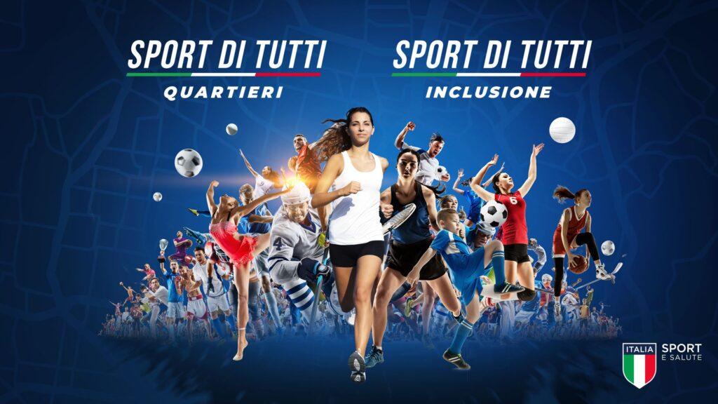 """Foto: Banner """"Sport di Tutti"""" per sport e salute. Una ragazza corre verso l'osservatore, dieto di lei ci sono numerosi atleti che praticano il propio sport."""