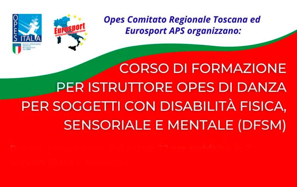 """Foto: Rettangolo tricolore con testo """"Corso di formazione per istruttore opes di danza per soggetti con disabilità fisica sensoriale e mentale DFSM)"""